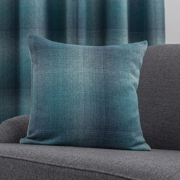 Ombre Check Teal Cushion Teal (Blue)