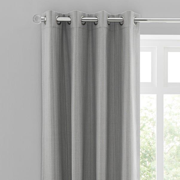 Neptune Textured Grey Blackout Eyelet Curtains  undefined