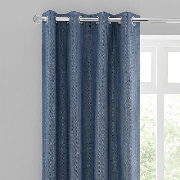 Neptune Textured Denim Blackout Eyelet Curtains  undefined