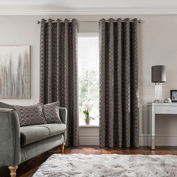 Chenille Ogee Charcoal Eyelet Curtains  undefined