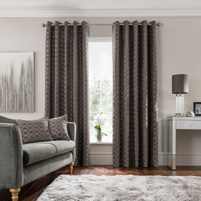 Chenille Ogee Charcoal Eyelet Curtains