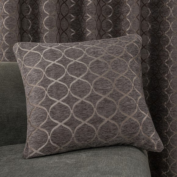 Chenille Ogee Charcoal Cushion Charcoal