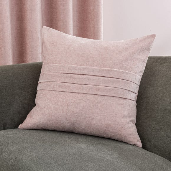 Chenille Pleat Cushion Pale Pink