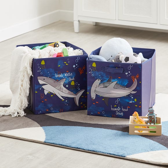 Sharks Twin Pack Storage Boxes Multi Coloured