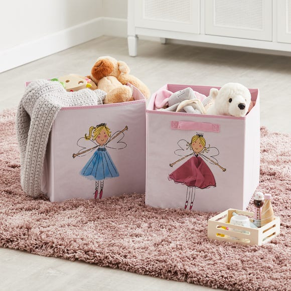 Fairies Twin Pack Storage Boxes Pink