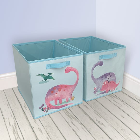 Dinosaur Twin Pack Storage Boxes Multi Coloured