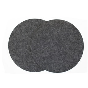 Pack of 2 Round Felt Charcoal Placemats