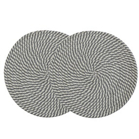 Pack of 2 Round Woven Light Blue Placemats