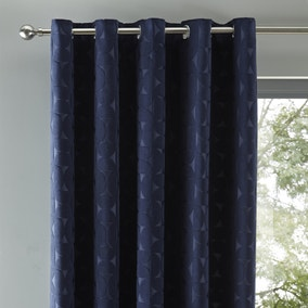 Elements Sten Geometric Velour Navy Eyelet Curtains
