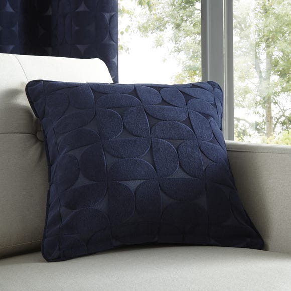 Elements Sten Geometric Velour Navy Cushion Navy