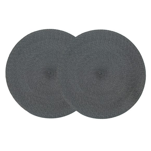 Pack of 2 Round Woven Grey Placemats Grey