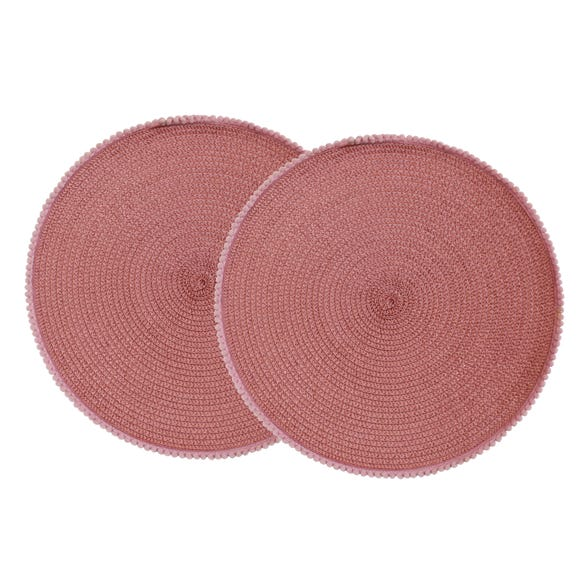 Pack of 2 Round Woven Blush Pink Pom Pom Trim Placemats Pink