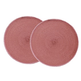 Pack of 2 Round Woven Blush Pink Pom Pom Trim Placemats