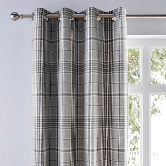 Melrose Woven Check Arctic Grey Eyelet Curtains  undefined