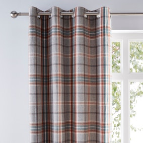 Melrose Woven Check Teal Eyelet Curtains