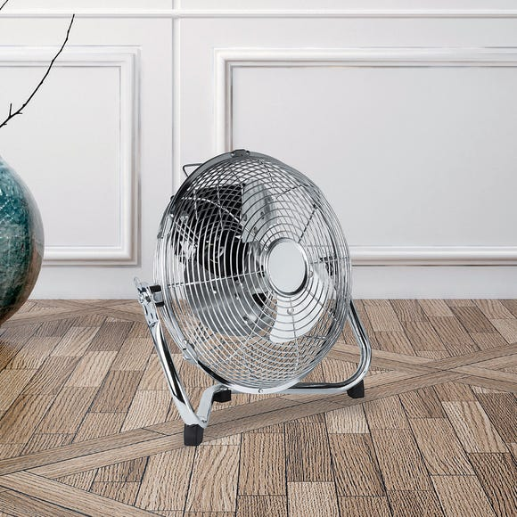 "9"" High Velocity Chrome Floor Fan Chrome"
