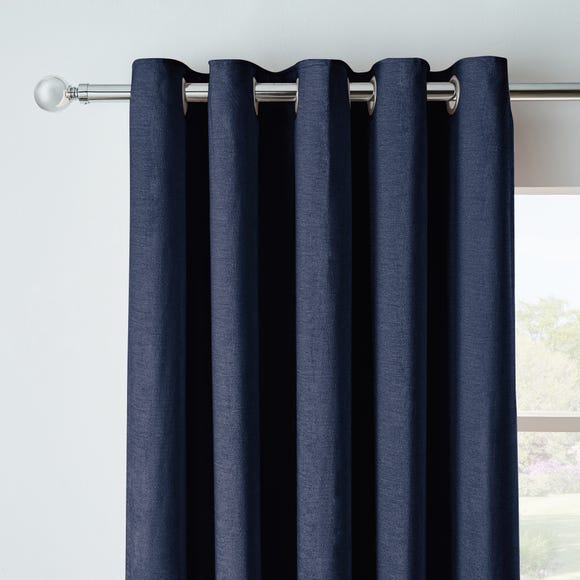 Chenille Navy Blackout Eyelet Curtains Navy undefined