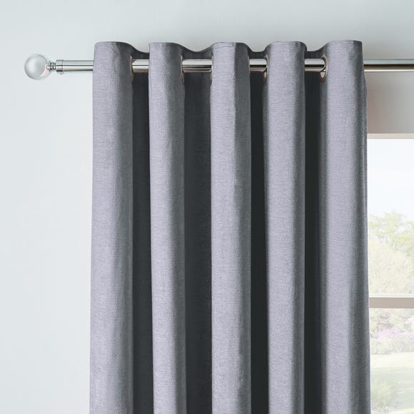Chenille Pewter Blackout Eyelet Curtains  undefined