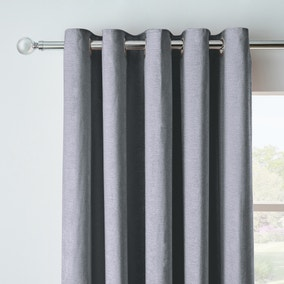 Chenille Pewter Blackout Eyelet Curtains