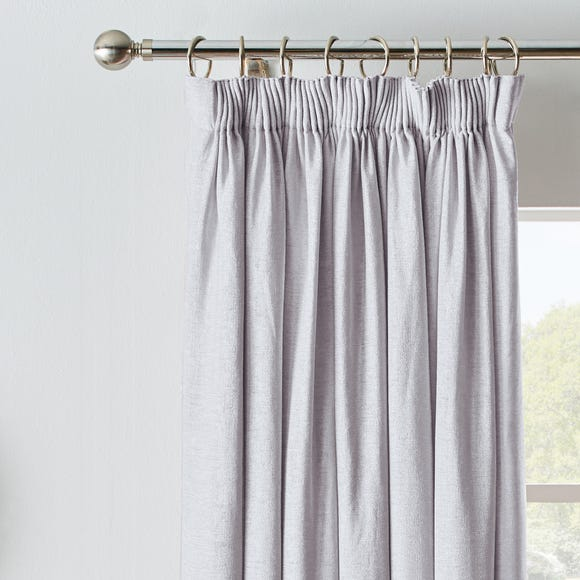 Chenille Silver Blackout Pencil Pleat Curtains  undefined