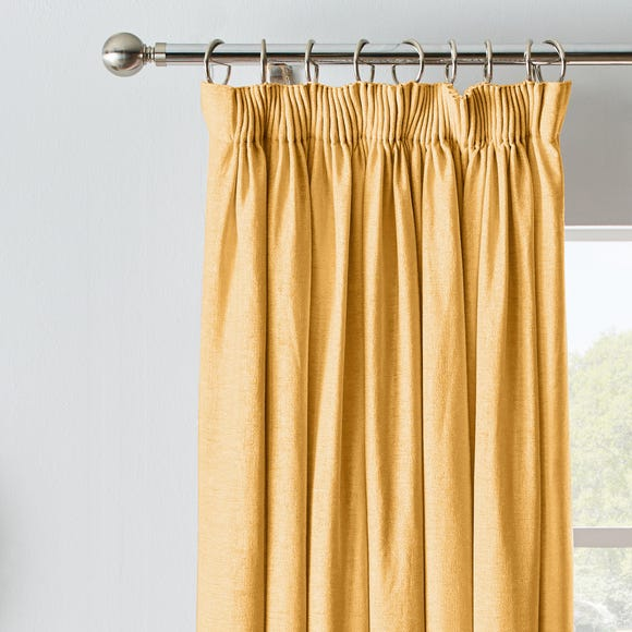 Chenille Ochre Blackout Pencil Pleat Curtains  undefined