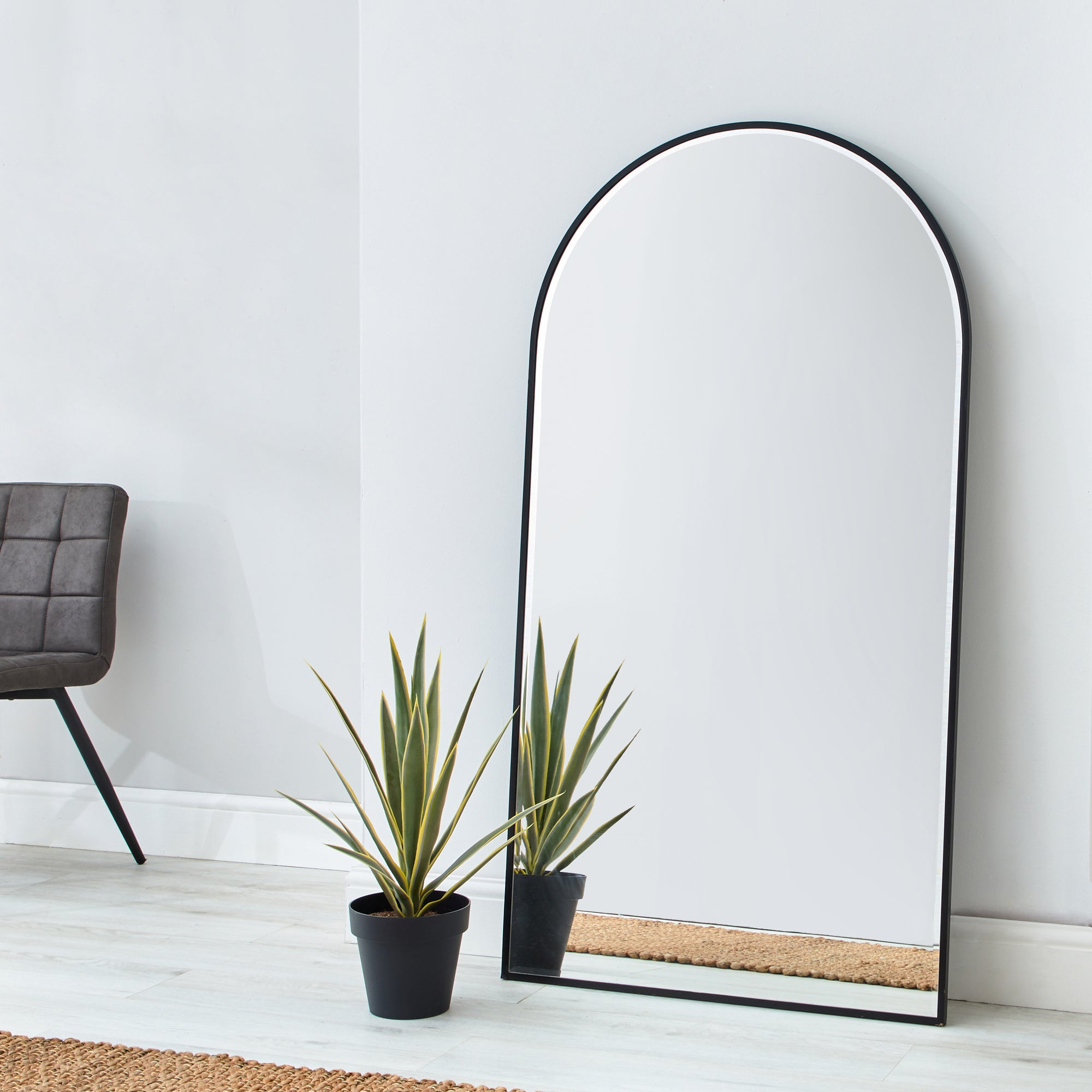 Click to view product details and reviews for Apartment Arch Leaner Mirror 150x80cm Black Silver.