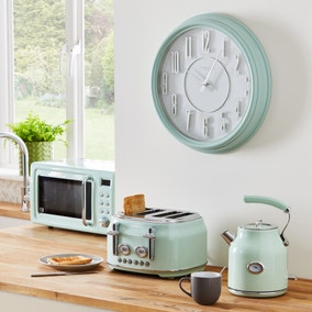 Retro 46cm Wall Clock Mint Green