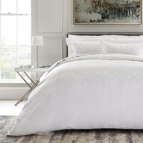 Dorma Purity Alscott Embroidered Geometric 100% Cotton Duvet Cover