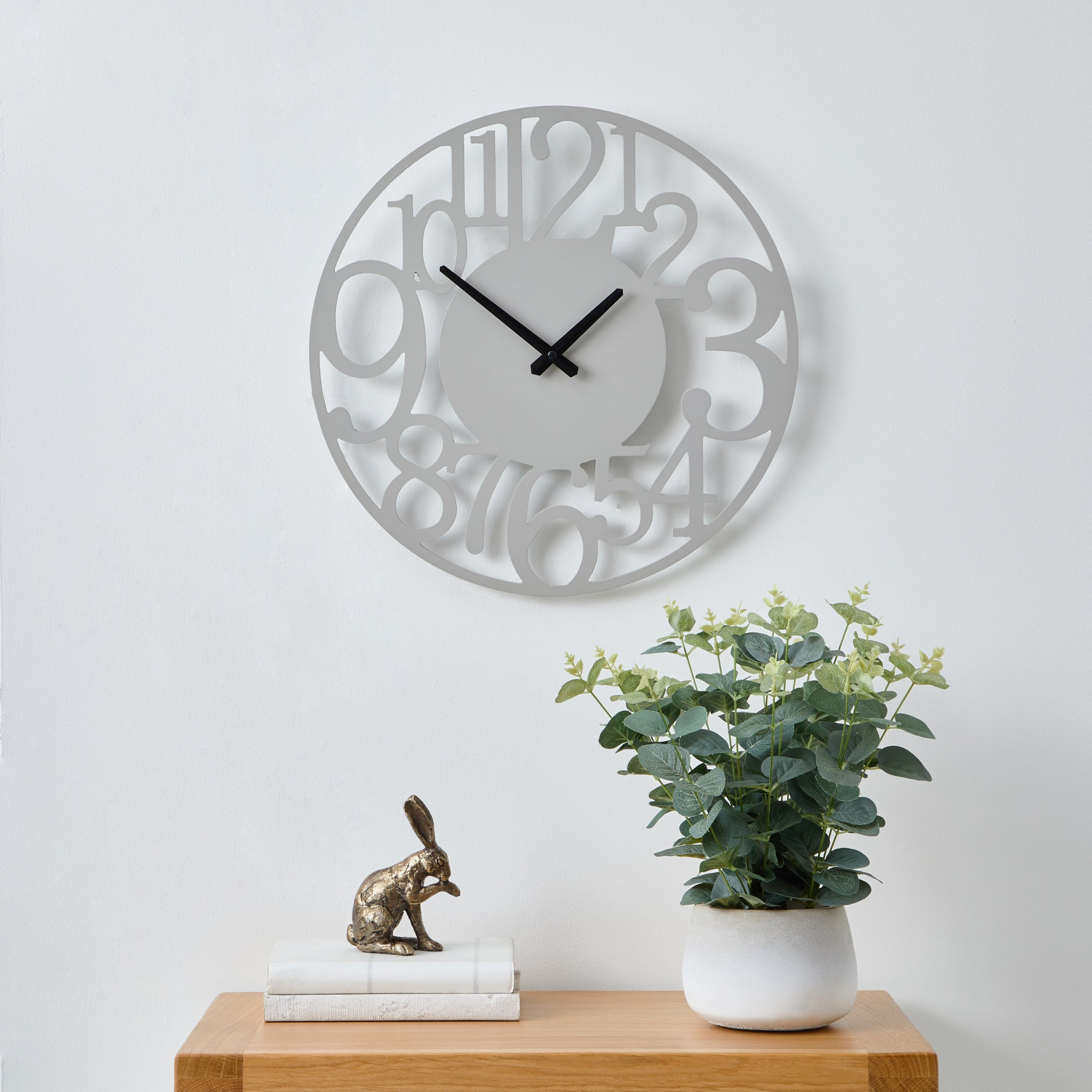 Click to view product details and reviews for Cut Out Numbers 40cm Wall Clock Grey Grey.