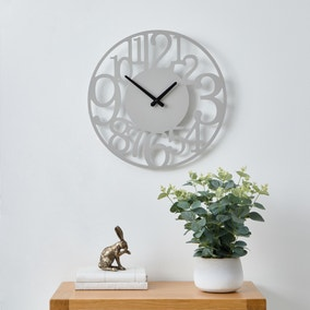 Cut Out Numbers 40cm Wall Clock Grey