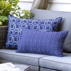Urban Jungle Ame Water Resistant Indigo Cushion