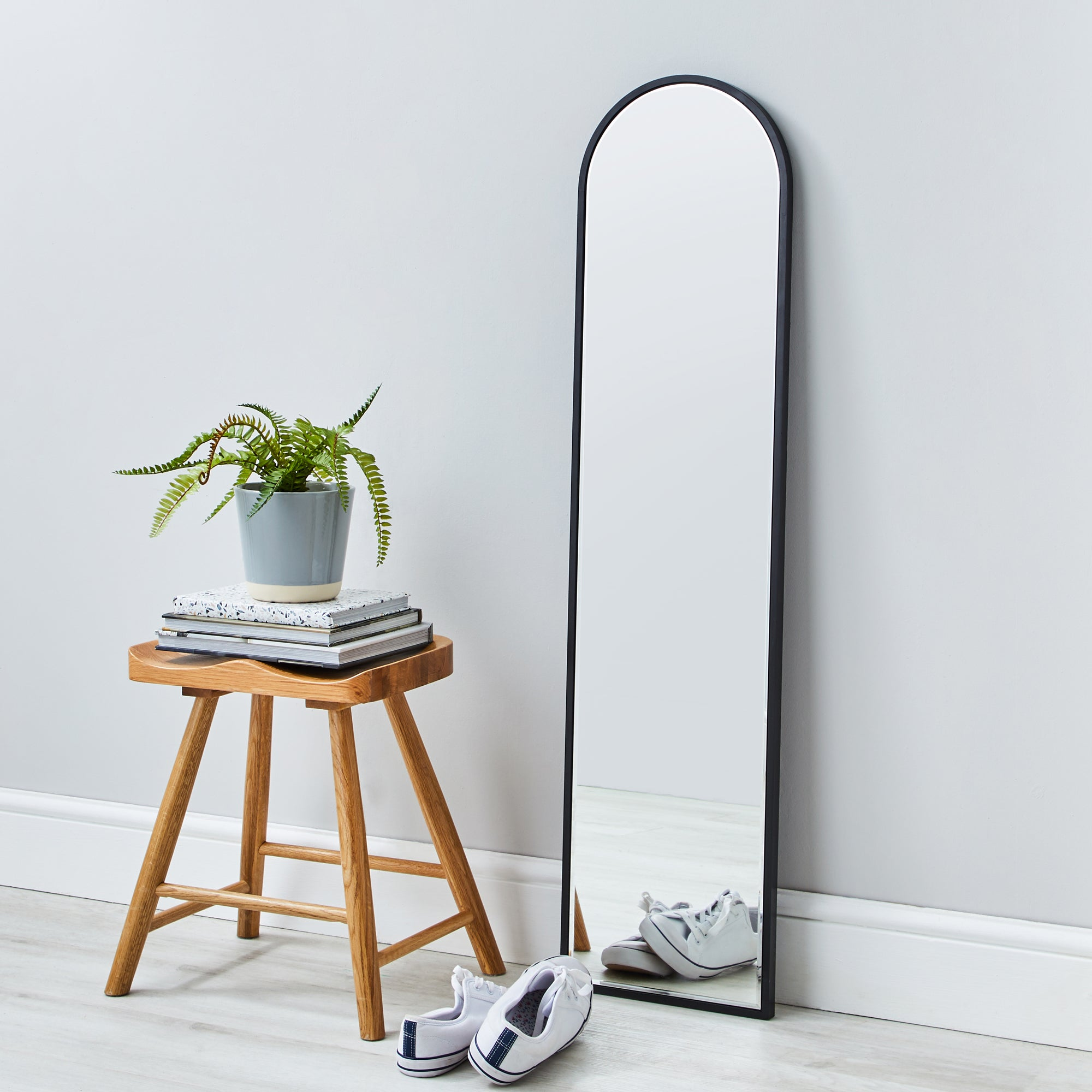 Click to view product details and reviews for Apartment Narrow Arch Leaner Mirror 120x30cm Black Silver.