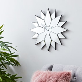 Star Mirrored 50cm Wall Clock