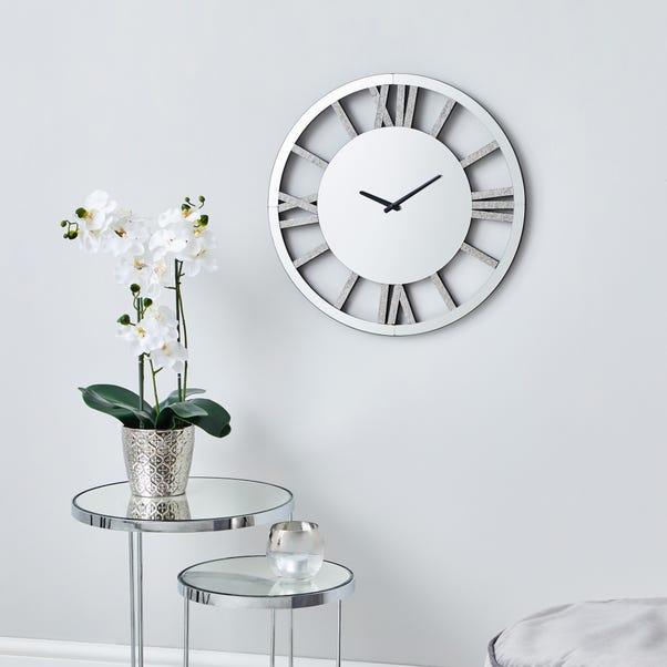 Glitter Mirrored 50cm Wall Clock Silver