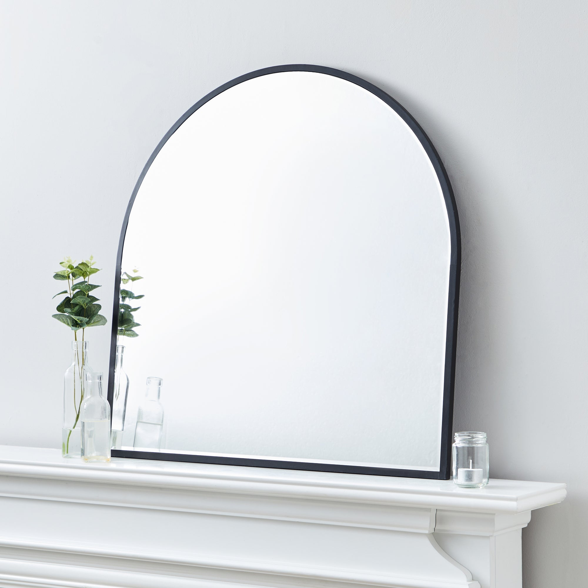 Click to view product details and reviews for Apartment Arch Wall Mirror 70x70cm Black Silver.