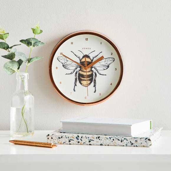 Jones Spin Bee 20cm Wall Clock Copper Copper