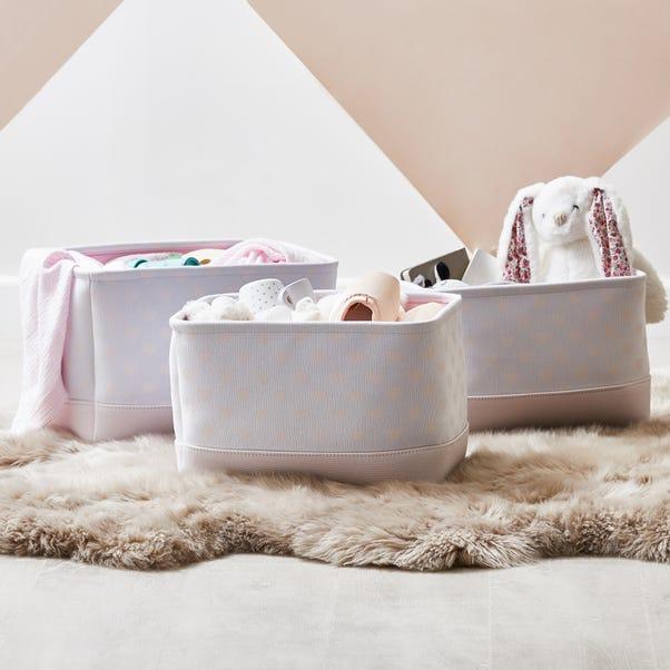 Beautiful Basics Pink Heart Patterned Set of Three Storage Baskets Pink