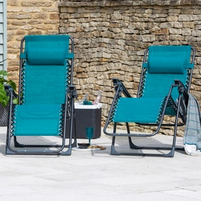Helsinki Set of 2 Teal Zero Gravity Loungers