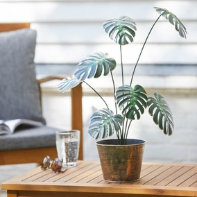Artificial Monstera in Bronze Plant Pot