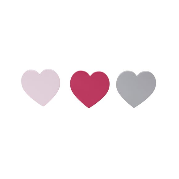 Loveable Hearts 3 Pack Wall Hooks Pink