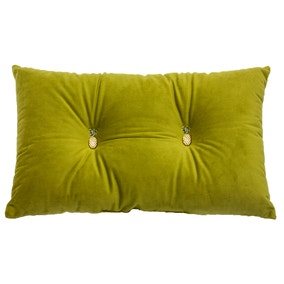 Olive Pineapple Velour Cushion