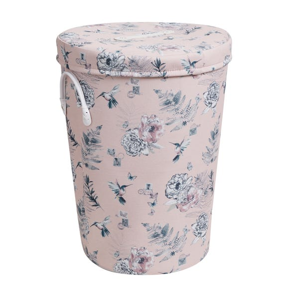 Heavenly Hummingbird Blush Laundry Basket Blush (Pink)