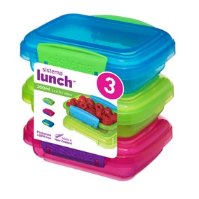 Pack of 3 Sistema 200ml Rectangular Lunch Boxes
