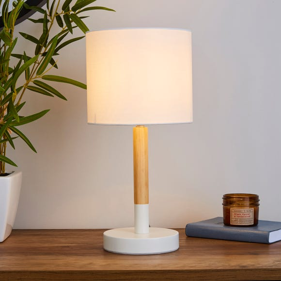 Dion White Wood Table Lamp White