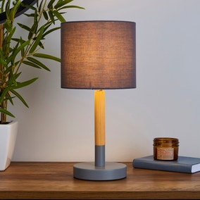 Dion Grey Wood Table Lamp