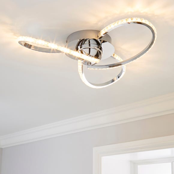 Oria 3 Light Integrated LED Jewel Chrome Ceiling Fitting Silver