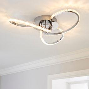 Oria 3 Light Integrated LED Jewel Chrome Ceiling Fitting