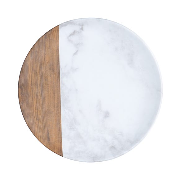 Marble and Wood Side Plate Multi-Coloured