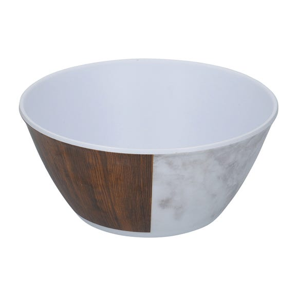 Marble and Wood Bowl Multi-Coloured