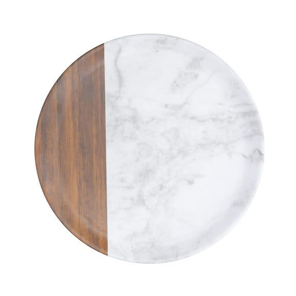 Marble and Wood Large Plate Multi-Coloured